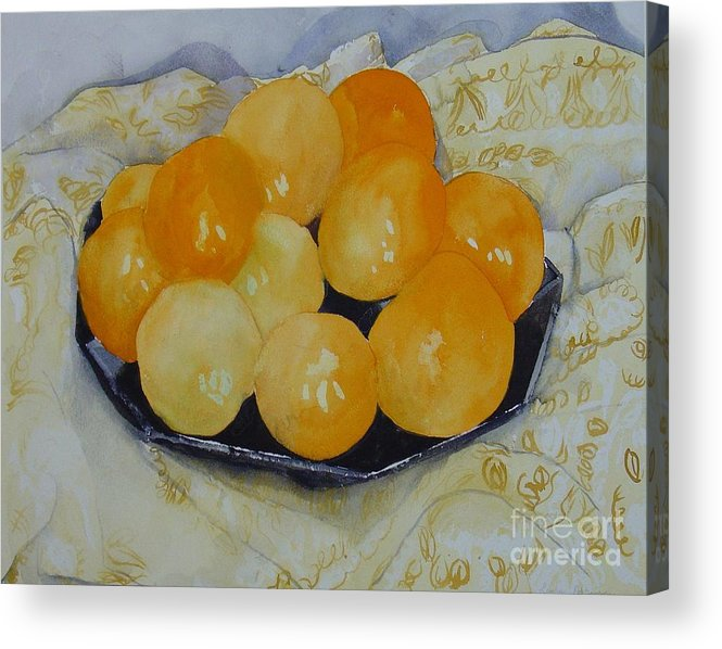Still Life Watercolor Original Leilaatkinson Oranges Acrylic Print featuring the painting Oranges by Leila Atkinson