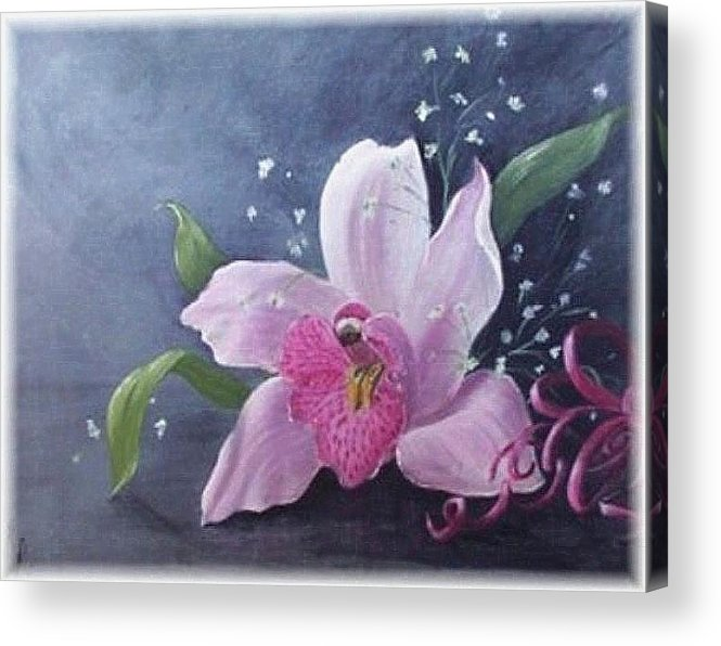 Orchid Acrylic Print featuring the painting Orchid by Rita Palm