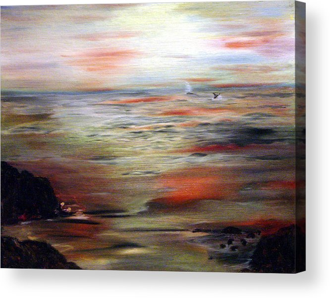 Seascape Acrylic Print featuring the painting Out To Sea by Julie Lamons