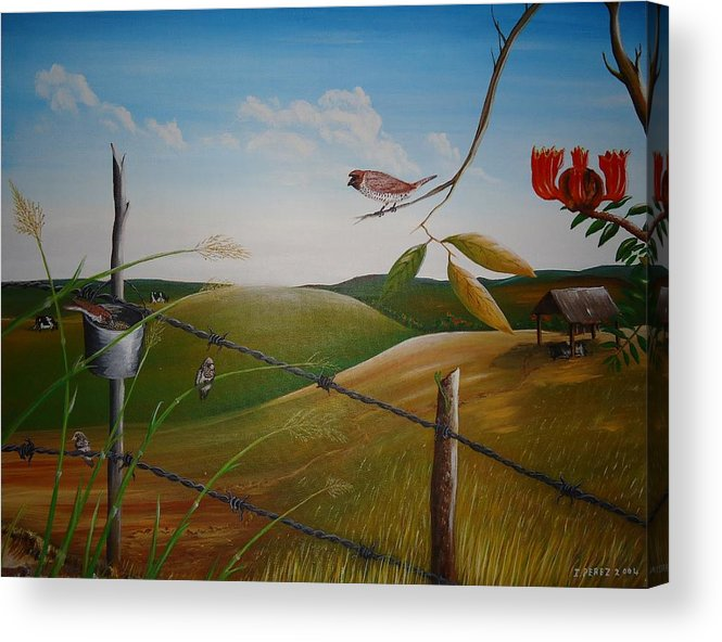 Bosque Acrylic Print featuring the painting Pandilleritos by Toyo Perez