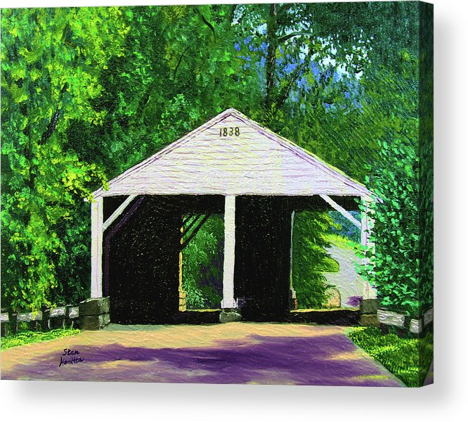 Covered Bridge Acrylic Print featuring the painting Park Covered Bridge by Stan Hamilton