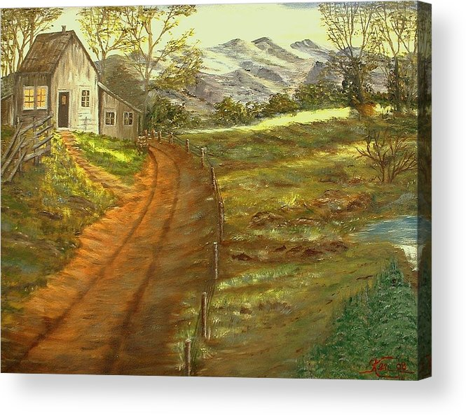 Landscape Acrylic Print featuring the painting Peaceful Country by Kenneth LePoidevin