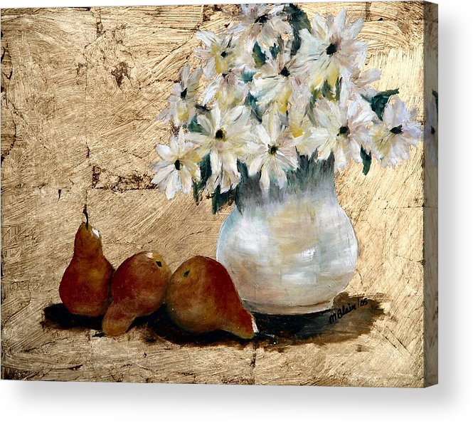 Fruit Acrylic Print featuring the painting Pears On Gold by Merle Blair