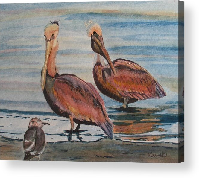 Pelicans Acrylic Print featuring the painting Pelican Party by Karen Ilari
