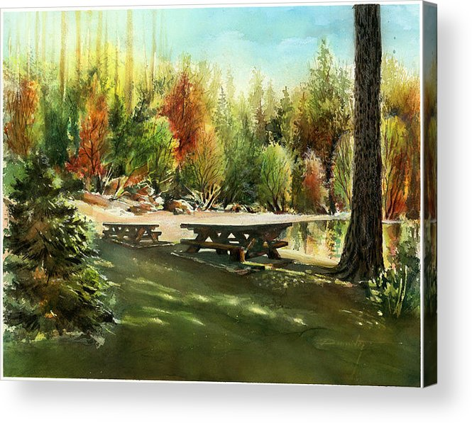 Landscape Acrylic Print featuring the painting Picnick Tables by Dumitru Barliga