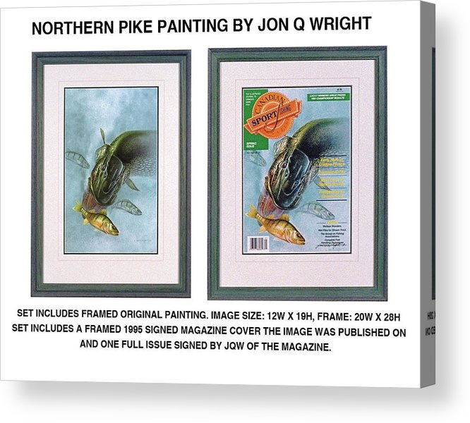 Jon Q Wright Acrylic Print featuring the painting Pike And Perch by Jon Q Wright