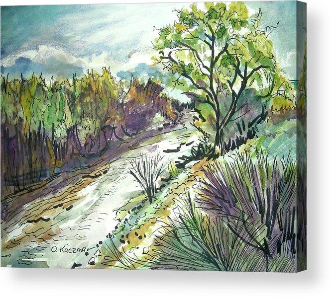 Landscape Acrylic Print featuring the painting Placerita Creek 3 by Olga Kaczmar