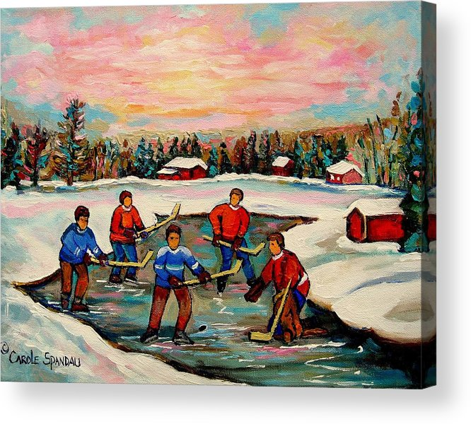 Montreal Acrylic Print featuring the painting Pond Hockey Countryscene by Carole Spandau