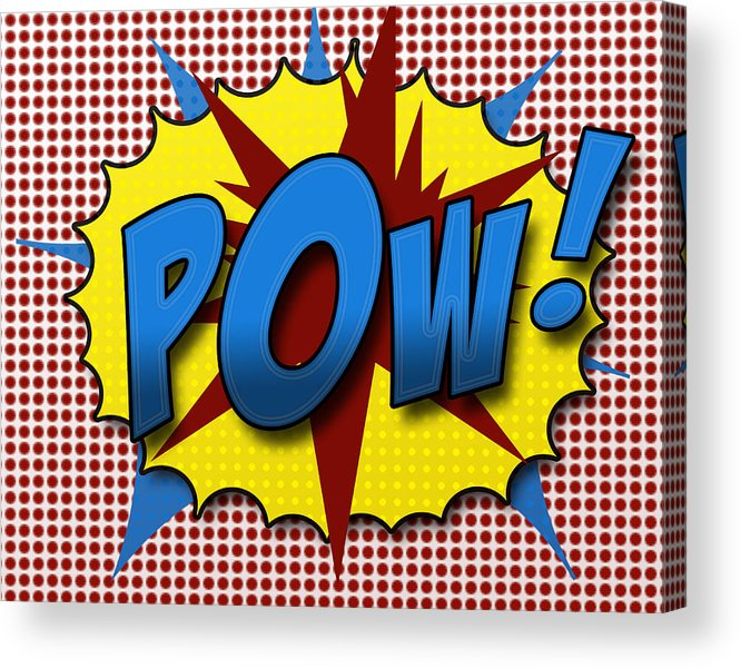 Comic Acrylic Print featuring the digital art Pop Pow by Suzanne Barber