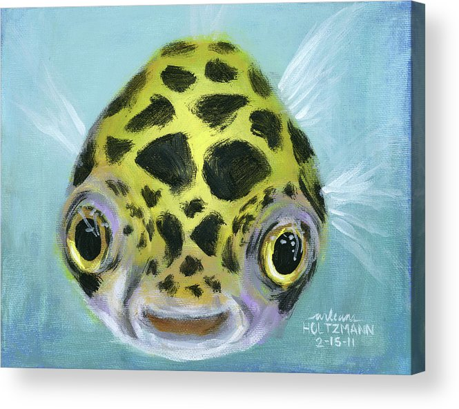 Green Spotted Puffer Fish Acrylic Print featuring the painting Puffy by Arleana Holtzmann