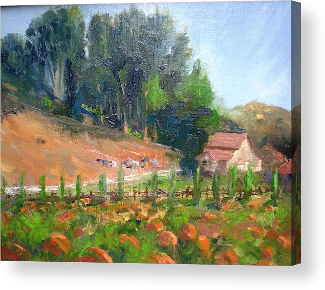 Barns Acrylic Print featuring the painting Pumpkin Fields At Bates Nut Farm by Bryan Alexander