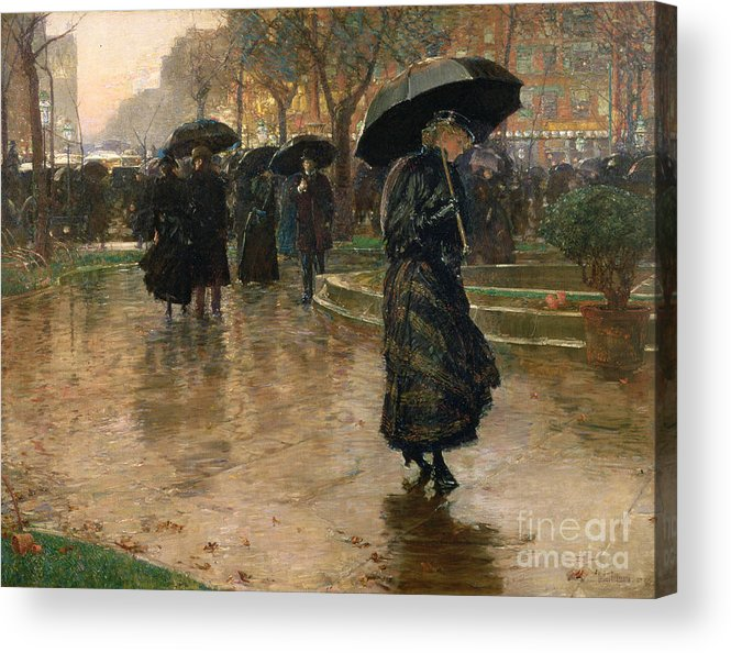 Rain Storm Acrylic Print featuring the painting Rain Storm Union Square by Childe Hassam