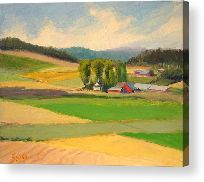 Plein Air Acrylic Print featuring the painting Red Barn Farm by Sylvia Carlton