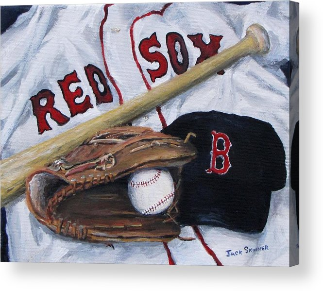 Red Sox Acrylic Print featuring the painting Red Sox Number Six by Jack Skinner