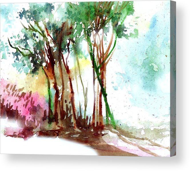 Landscape Acrylic Print featuring the painting Red Trees by Anil Nene