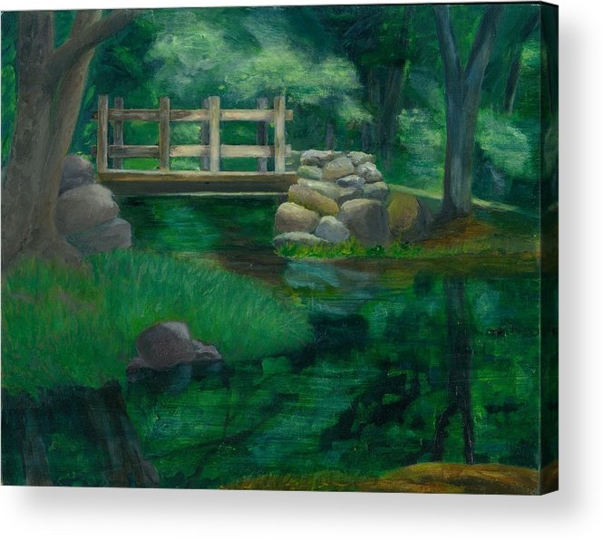 Summer Water Reflections Stream Bridge Landscape Rocks Green Park Acrylic Print featuring the painting Reflections At Chatfield Hollow by Paula Emery