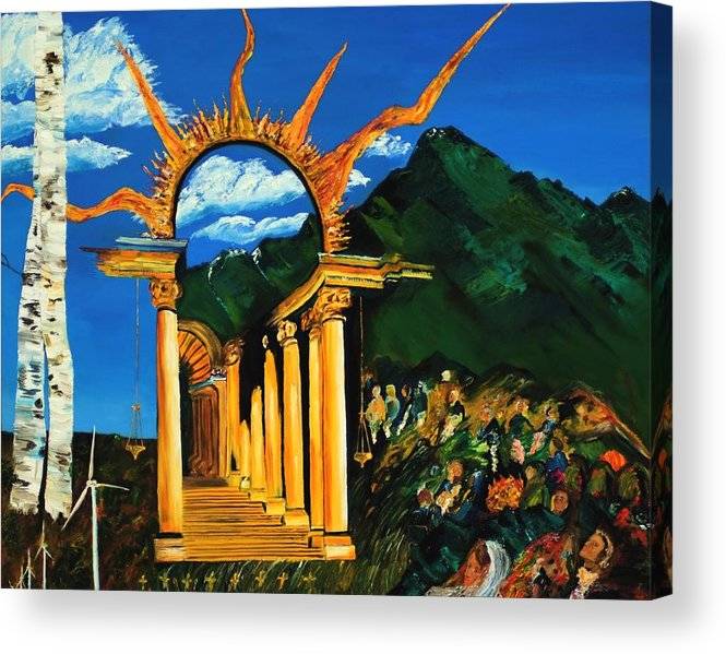 Climategate Acrylic Print featuring the painting Religion And Nature by Gregory Allen Page