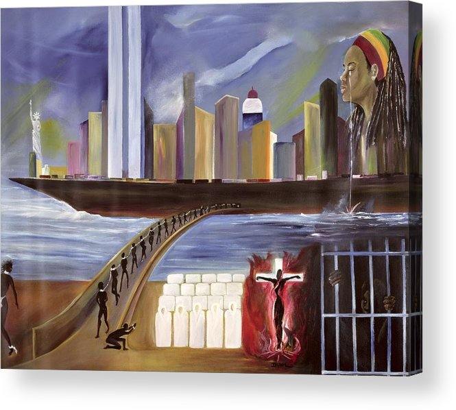 Crossing Acrylic Print featuring the painting River Of Babylon by Ikahl Beckford