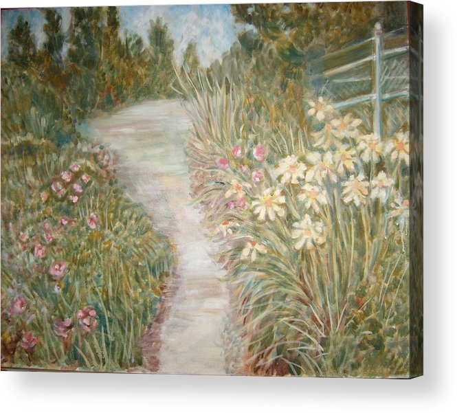 Landscape Flowers Bushes Trees Fence Acrylic Print featuring the painting Road To Sebago by Joseph Sandora Jr