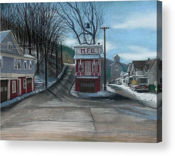Firehouse Acrylic Print featuring the painting Route 6 Meshoppen Pa by John Clum
