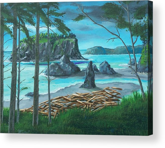 Stormy Ocean Acrylic Print featuring the painting Ruby Beach by Gene Ritchhart