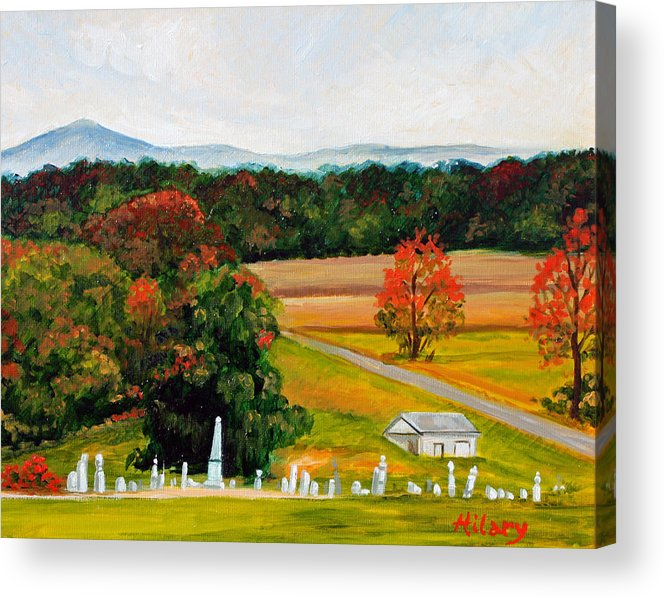 Landscape Acrylic Print featuring the painting Salem Cemetery In October by Hilary England