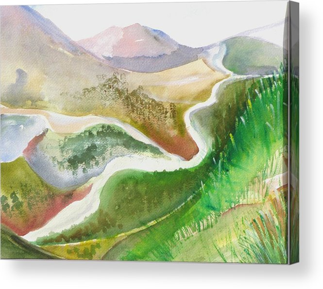 Landscape Acrylic Print featuring the painting Scottish Glen by Kathy Mitchell