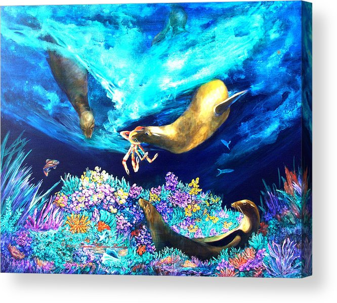 Ocean Acrylic Print featuring the painting Sea Garden by Dianne Roberson