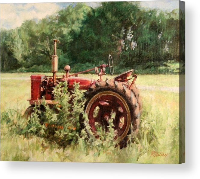 Tractor Acrylic Print featuring the painting Seen Better Days by Robert Tutsky