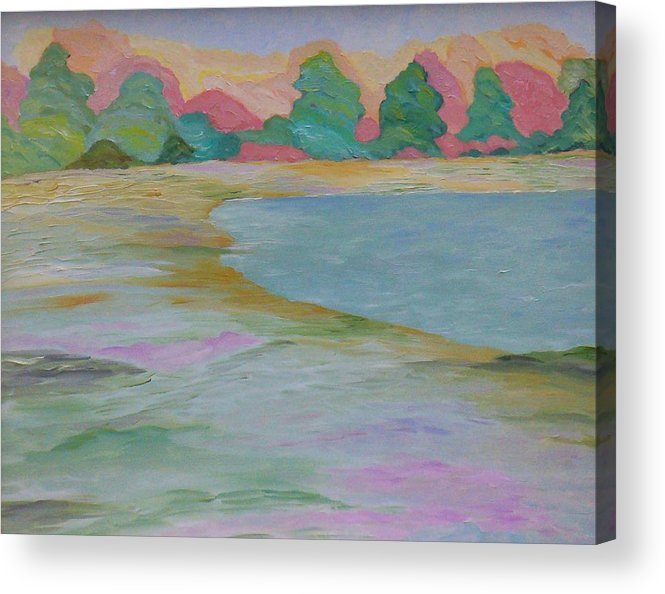 Lake Acrylic Print featuring the painting Serinity by Cary Singewald