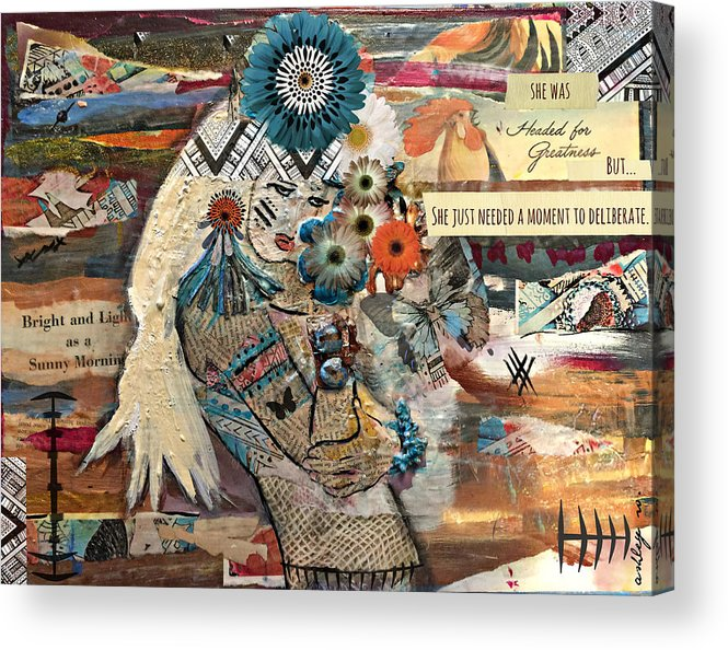 Headdress Acrylic Print featuring the painting She Was Headed For Greatness by Ashley Whittenberger