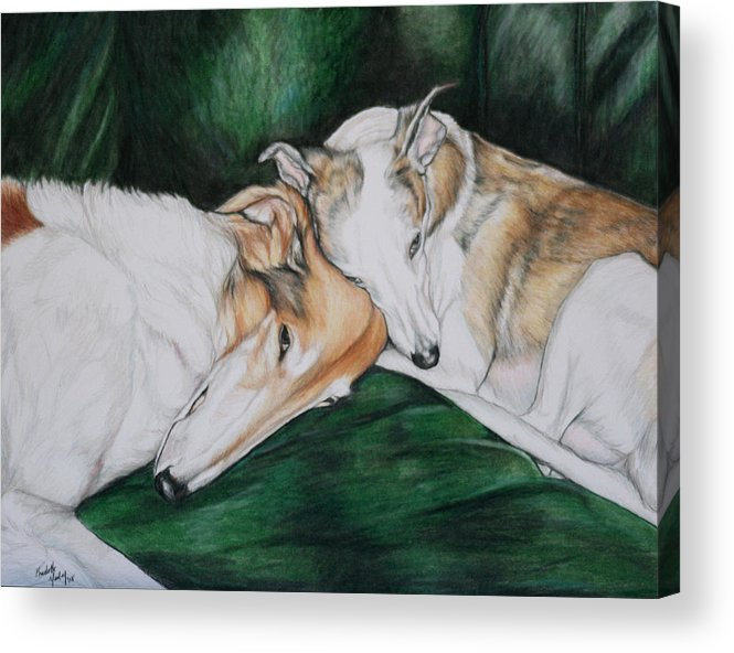 Borzoi Acrylic Print featuring the painting Sighthound Comfort by Charlotte Yealey