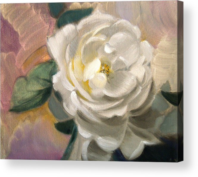 Floral Roses Acrylic Print featuring the painting Single Rose by Patrick McClintock