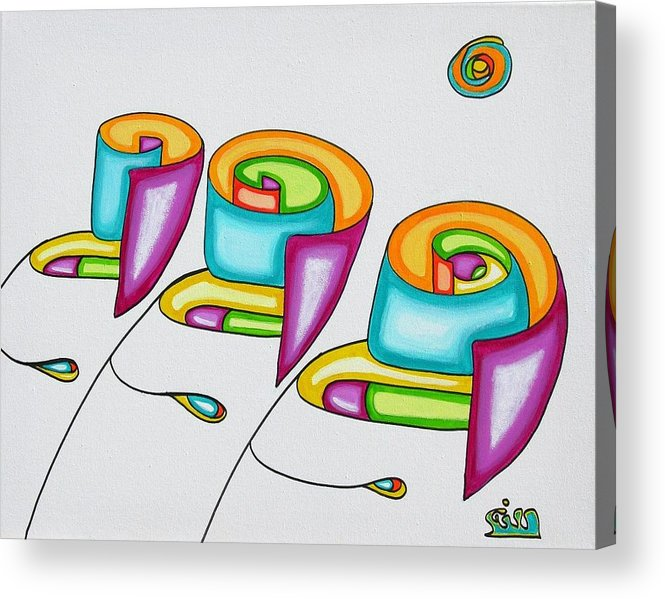 Fantasy Acrylic Print featuring the painting Spiral Triplets by      Gillustrator