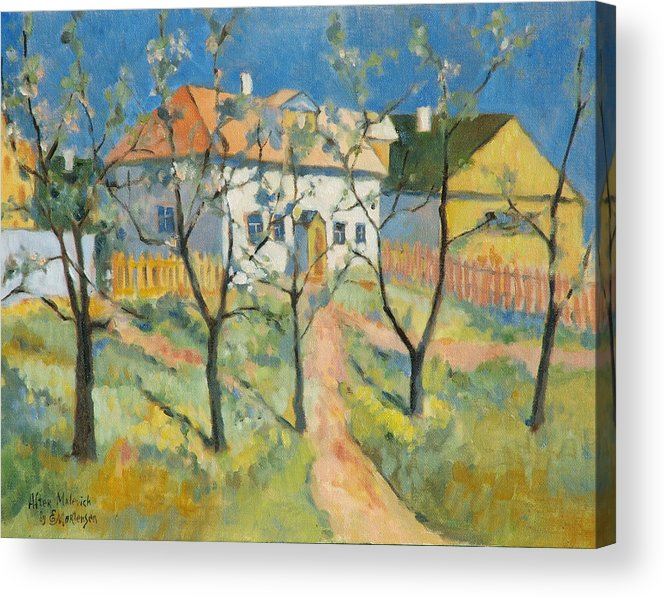 Malevich Acrylic Print featuring the painting Spring Garden In Bloom My Reproduction Of Malevichs Work by Ekaterina Mortensen