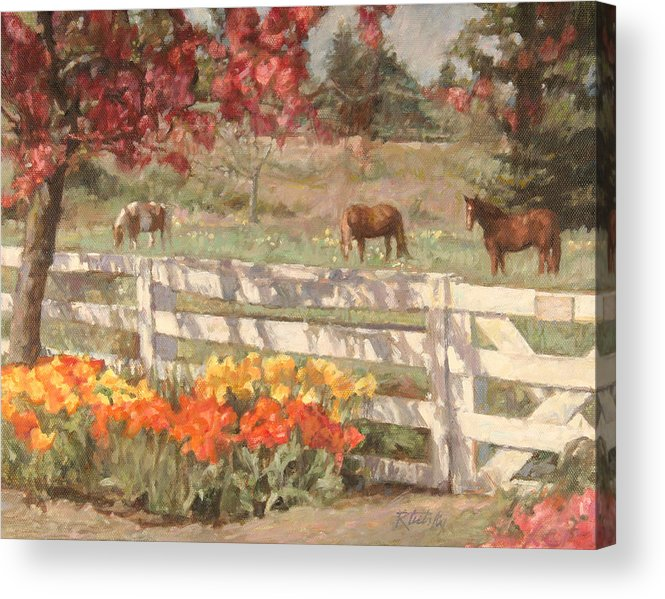 Horse Acrylic Print featuring the painting Springtime Horses by Robert Tutsky