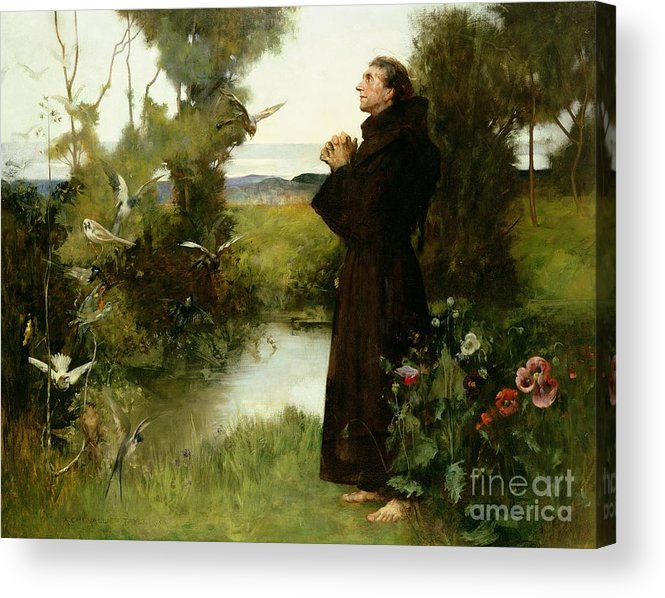 St. Francis Acrylic Print featuring the painting St. Francis by Albert Chevallier Tayler