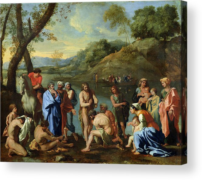 John Acrylic Print featuring the painting St John Baptising The People by Nicolas Poussin