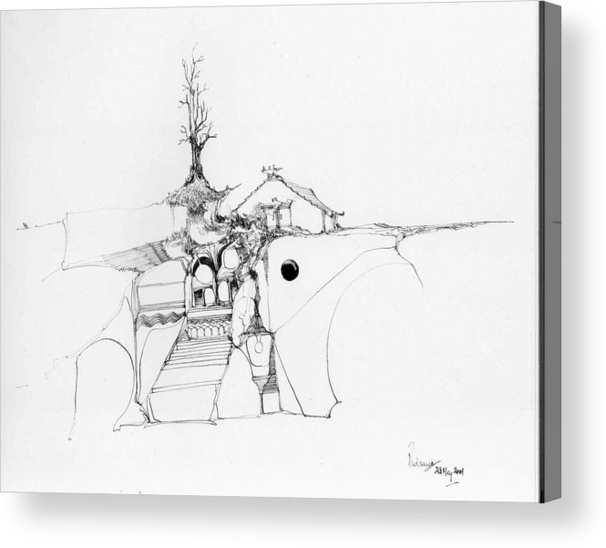 Rocks Acrylic Print featuring the drawing Stairs To A Temple And A Tree Among Rocks by Padamvir Singh