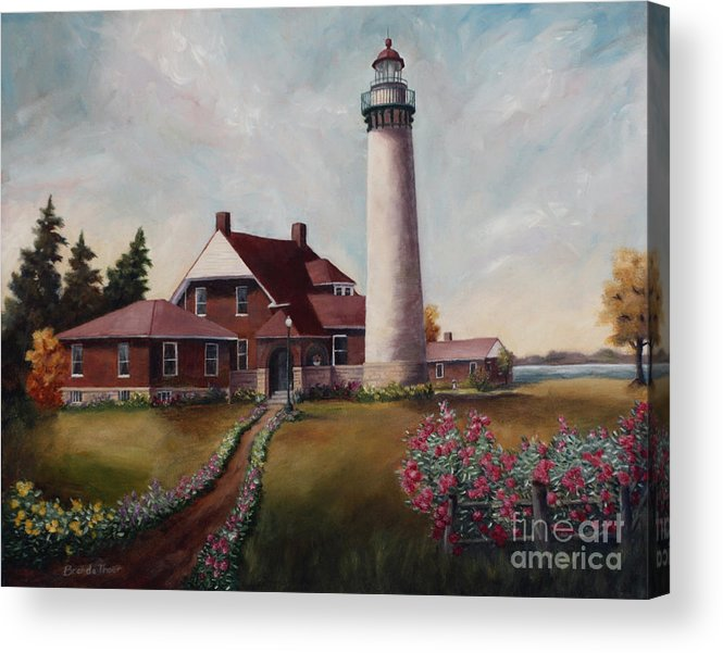 Lighthouse Nautical Building Structure Oil Painting Canvas Original Lake Michigan Flowers Acrylic Print featuring the painting Suel Choix Light by Brenda Thour