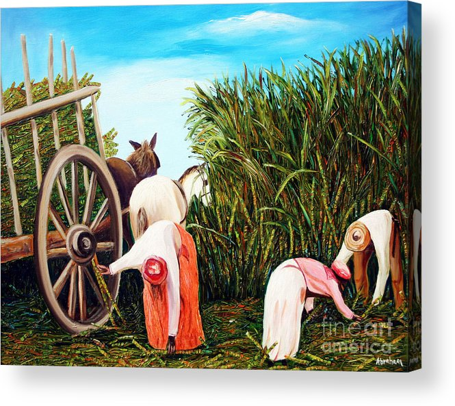 Cuban Art Acrylic Print featuring the painting Sugarcane Worker 1 by Jose Manuel Abraham