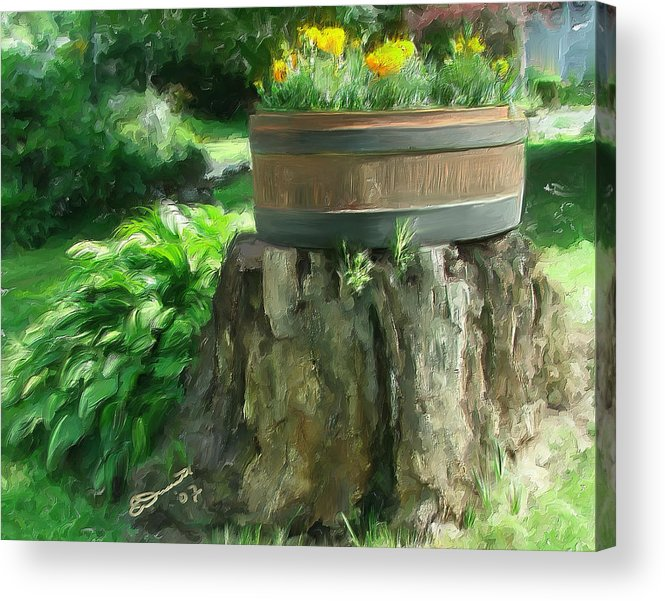 Landscape Planter Monadnock Nh New Hampshire Flowers Floral Green Acrylic Print featuring the painting Summer In The Monadnocks by Eddie Durrett