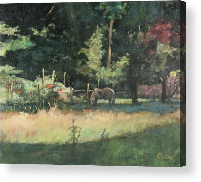 Pony Acrylic Print featuring the painting Sunday Graze by Robert Tutsky