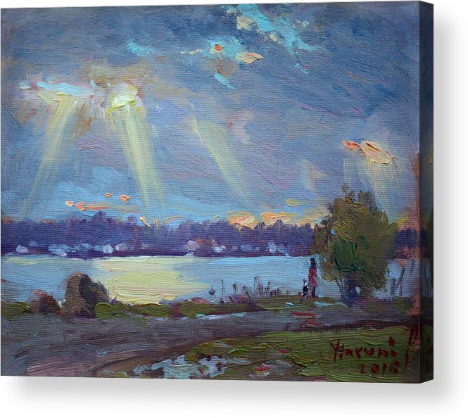 Sunset Acrylic Print featuring the painting Sunset After The Rain by Ylli Haruni