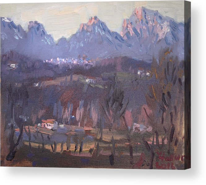 Sunset Acrylic Print featuring the painting Sunset At Dolomites Belluno by Ylli Haruni