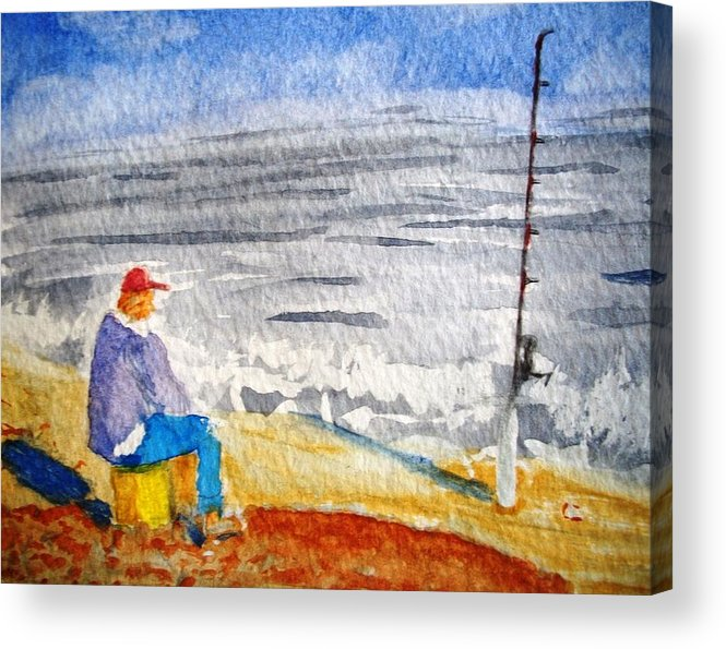 Fishing Acrylic Print featuring the painting Surf Fishing by Spencer Joyner