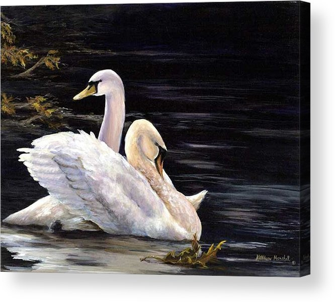 Swans Acrylic Print featuring the print Swansong by Kathleen Marshall McConnell