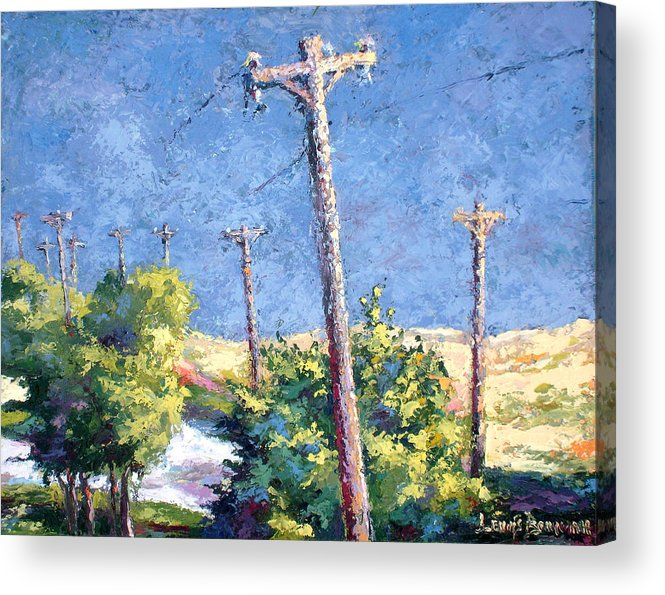 Landscape Painting Acrylic Print featuring the painting Telephone Poles Before The Rain by Lewis Bowman