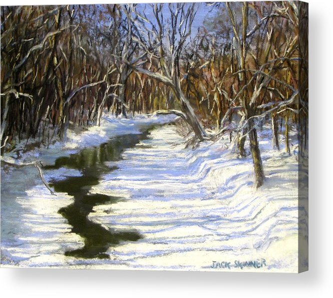 Assabet River Acrylic Print featuring the painting The Assabet River In Winter by Jack Skinner