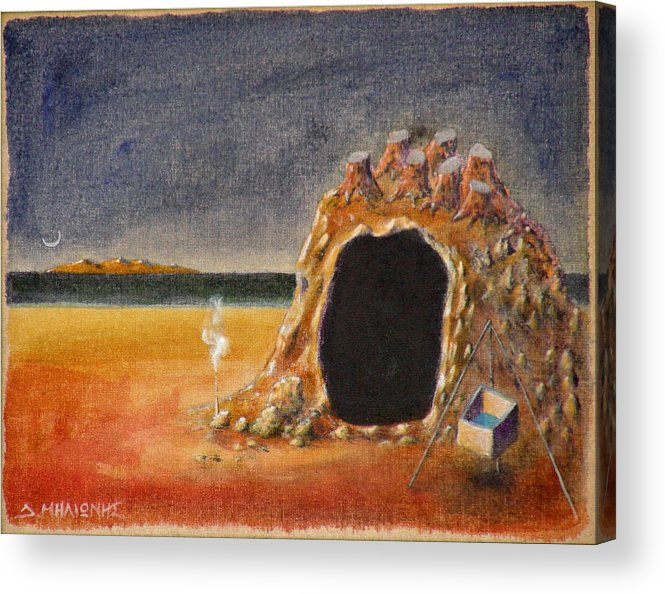 Metaphysacal Acrylic Print featuring the painting The Cave Of Orpheas by Dimitris Milionis